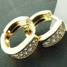 AN882 GENUINE REAL 18K YELLOW G/F GOLD DIAMOND SIMULATED KIDS GIRLS EARRINGS