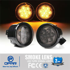 Pair Smoked Lens Amber LED Front Turn Signals for Jeep Wrangler JK Sahara 07-16