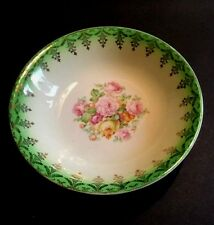 Paden City Pottery Co. Vintage Small Round Fruit Salad Bowl Cream Green Gold