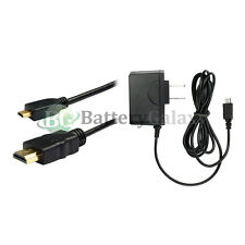 Fast Battery Micro USB Home Wall AC Charger+6FT GOLD Micro HDMI Cable Type A - D