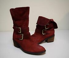 """DONALD J PLINER """"DANEE"""" Berry Red Distressed Nubuck Suede Ankle Boots 6.5 M"""