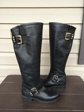 WOMENS STEVE MADDEN BARTON BLACK TALL LEATHER ZIP UP SPIKE BOOT SIZE 6 NEW! $229