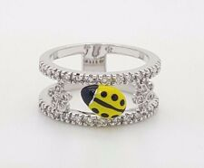 NEW 18K 750 WHITE GOLD DIAMOND ENAMELED SMALL LADYBUG FLOWER DESIGN LADIES RING