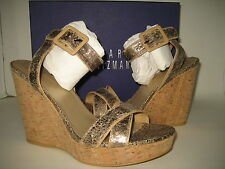 $398 NEW Stuart Weitzman Womens US 10 Annex Penny Cracked Wedge Sandals Shoes BX