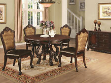 GIRONDE-5pcs Euro Traditional Cherry Brown Round Dining Room Table & Chairs Set