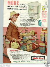 1959 PAPER AD Lustro Ware Store Display Ausle Kitchen Canister Waste Baskets