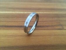 STAINLESS STEEL & 6 DIAMONDS DESIGNER RING THIN BAND SIZE 10