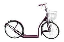 "20"" Adult SCOOTER Kick Foot Bike Basket Hand Brake Racing Wheels Amish Made PLUM"