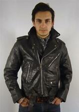 VINTAGE MENS CLASSIC JET BLACK SKINNY FITTED RACER BIKER LEATHER JACKET L 42