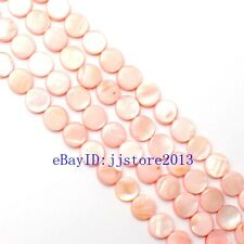 11mm Pretty Natural Pink Shell Coin Shape Gemstone Loose Beads Strand 15""