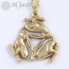 New St Justin Three Hares Rabbit Bronze Pendant Gold Plated Necklace BZP51