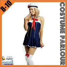 Womens Navy Sailor Military Halloween Ladies Fancy Dress Costume Size 8 - 10