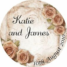 40 Personalised Wedding Sticker Seals Labels Mr and Mrs Roses Romantic Favours
