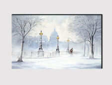 X LARGE CANVAS 18''x32'' WALL PARK AVENUE WINTER LOVERS SNOW PRINT PICTURE 286