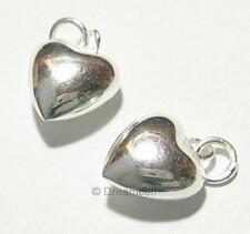 2x Bright Sterling SILVER PUFF HEART Love CHARM PENDANT 10mm w/  ring .925