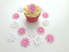 14 Comestibles Pink/white 3d Flores pre corte Oblea Cupcake Toppers