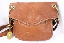 FOSSIL Modern Cargo Convertible Flap Brown Leather Shoulder Crossbody Bag Purse