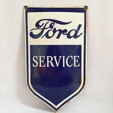 Original Vintage FORD SERVICE Porcelain Enamel SIGN   Antique Oil Gasoline RARE