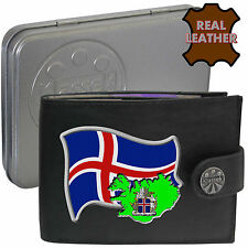 ICELAND Mens Leather Wallet ICELANDIC Flag map Emblem Man gift Island Nordic Tin