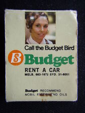 MOBIL BUDGET THE BEST PAIR TO GET YOU THERE CALL THE BUDGET BIRD MATCHBOOK