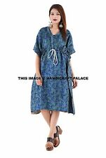 INDIAN KANTHA QUILTED EMBROIDERY VINTAGE SILK KAFTAN MAXI DRESS EVENING GOWN