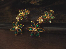Vintage Emerald & Turmaline Green Crystal Flower Drop Clip-on Earrings