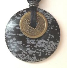 "2"" Round Black/grey Asian Oriental Stone Pendant Silk adjustable attachment"