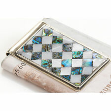 Money Clip  Alpaca Mexican Silver with Mosaic Abalone Shell