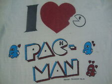 Vintage 80's I Love heart PAC MAN Midway Arcade Game RARE Soft Thin T Shirt XS