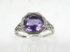 Stunning Sterling Silver Natural Round Cut 2ct Amethyst Filigree Ring G13