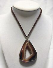 AMBER TAN GOLD DRUZY AGATE STONE SLICE NECKLACE PENDANT CRYSTAL WIRE WRAPPED
