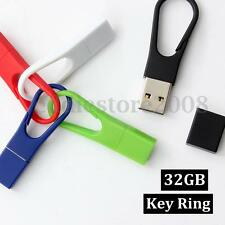 32GB USB 2.0 Flash Drive Memory Stick Clips Keychain Thumb Portable U Disk