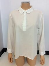 See By Chloe White Shirt Blouse Size 14 Uk Collared Long Sleeve