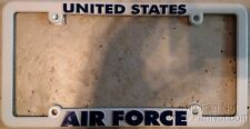 Air Force White Plastic License Plate Frame Tag Cover United States Military US