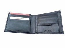 ALW Genuine Leather Money Wallet Purse for Men Gents with Card Slots - Black