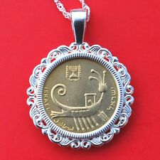 Israel 1 Agora BU Unc Coin Solid 925 Sterling Silver Necklace NEW - Ancient Ship
