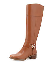 Michael Kors Fulton Harness Light Brown Leather Tall Riding Boots Sz 9 NWOB $199