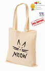 Printed MEOW Cat PERSONALISED COTTON TOTE SHOPPING SHOULDER BAG BEIGE
