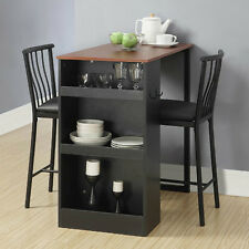 Counter Height Bar Table Chairs Breakfast Nook Furniture Set Kitchen Storage New