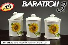 SET 3 BARATTOLI IN CERAMICA DECORO GIRASOLE 15 CM TAW-341793
