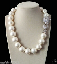 Huge 20mm Genuine White South Sea Shell Pearl Necklace 19'' AAA Crystal Clasp