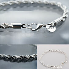 New Jewelry Women Fashion 925 Silver Plated Chain Bracelet Twisted rope Hot Sale
