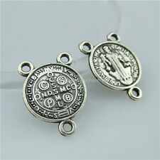 13718 60x Mini Saint Benedict Peace PAX Cross Exorcize Demon Connector Pendant