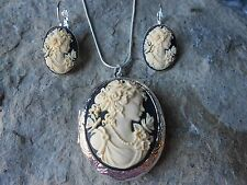 VICTORIAN WOMAN PORTRAIT CAMEO LOCKET and FRENCH EARRINGS SET- 925 SILVER PLATED