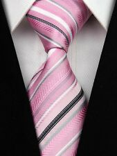 Pink, Grey, Black & White Striped Silk Classic Woven Horse Show Tie *New*