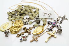 Lot of 13 Christian Vintage Jewelry Pieces - Rosary/Pins/Earrings/Necklaces