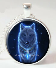 Wolf  Sirius Cabochon Glass Tibet Silver Chain Pendant Necklace HZ#107