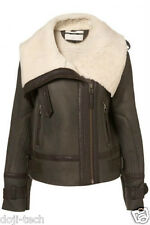 Topshop Genuine Sheepskin Shearling Leather Aviator Biker Jacket Coat 10 38 US6