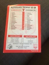 Scarborough V Scunthorpe United 1993 Auto Glass Trophy Soccer/football Programme