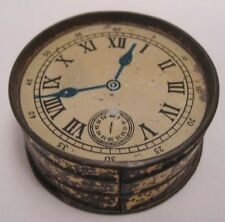 "Unusual Victorian Antique Tin Plate Toy Coin Bank 2  1/4"" Pocket Watch 1800s"
